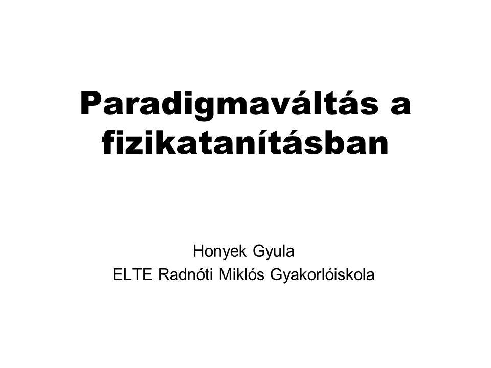 Paradigmaváltás a fizikatanításban Honyek Gyula ELTE Radnóti Miklós Gyakorlóiskola