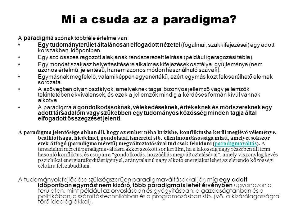 Mi a csuda az a paradigma? A paradigma szónak többféle értelme van: •Egy tudományterület általánosan elfogadott nézetei (fogalmai, szakkifejezései) eg