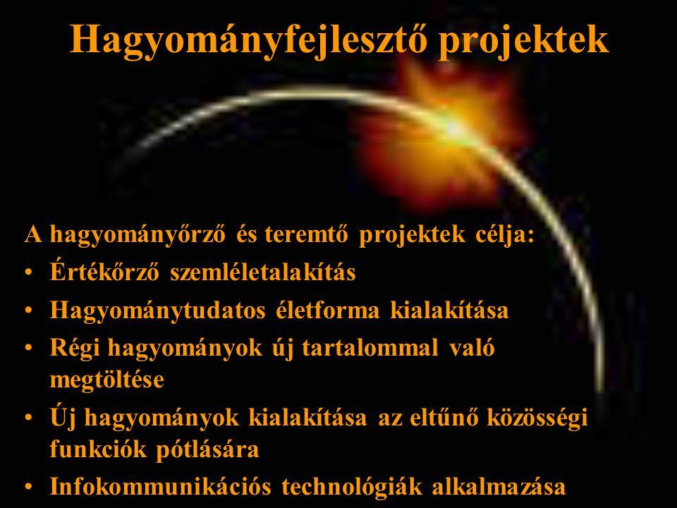 Hagyományfejlesztő projektek A hagyományőrző és teremtő projektek célja: •Értékőrző szemléletalakítás •Hagyománytudatos életforma kialakítása •Régi hagyományok új tartalommal való megtöltése •Új hagyományok kialakítása az eltűnő közösségi funkciók pótlására •Infokommunikációs technológiák alkalmazása