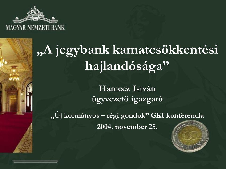 """""""A jegybank kamatcsökkentési hajlandósága Hamecz István ügyvezető igazgató """"Új kormányos – régi gondok GKI konferencia 2004."""