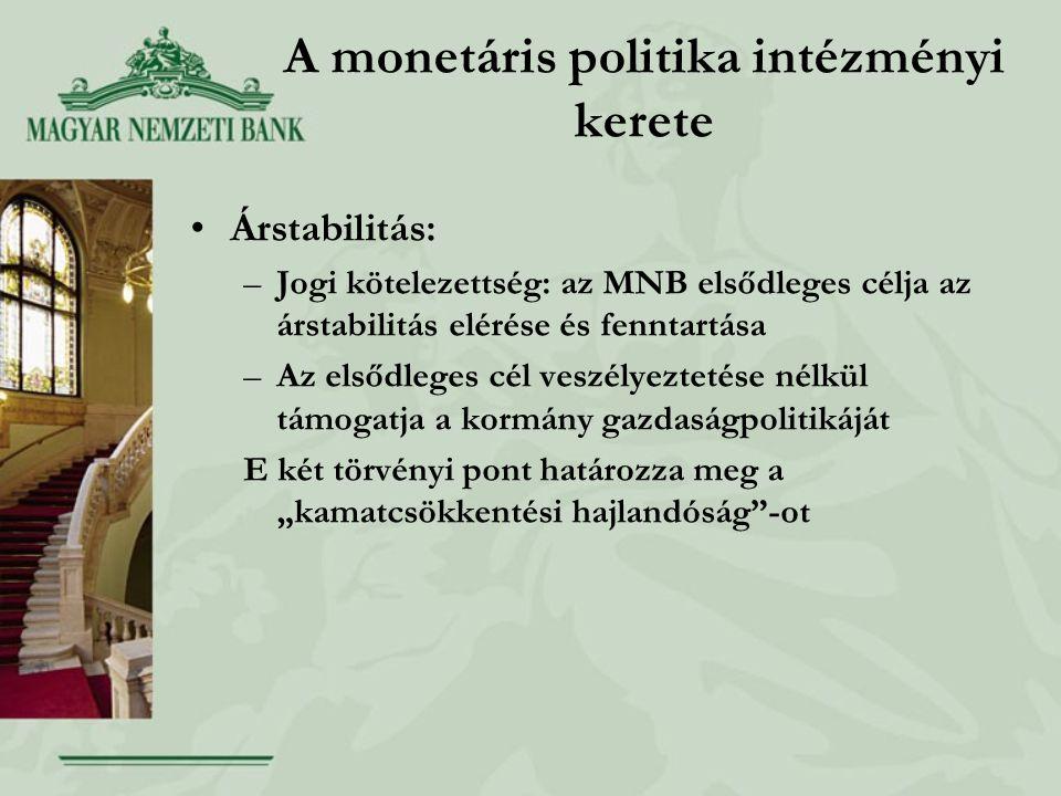 """A monetáris politika intézményi kerete •Árstabilitás: –Jogi kötelezettség: az MNB elsődleges célja az árstabilitás elérése és fenntartása –Az elsődleges cél veszélyeztetése nélkül támogatja a kormány gazdaságpolitikáját E két törvényi pont határozza meg a """"kamatcsökkentési hajlandóság -ot"""