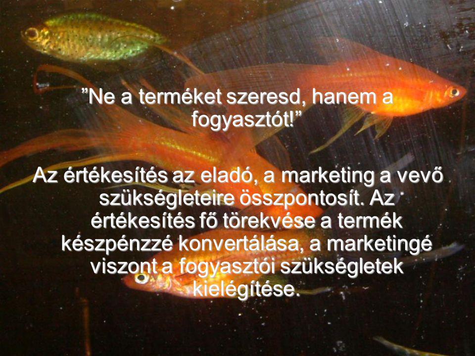 Ne a terméket szeresd, hanem a fogyasztót! Az értékesítés az eladó, a marketing a vevő szükségleteire összpontosít.