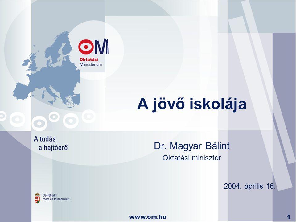 www.om.hu1 A jövő iskolája Dr. Magyar Bálint Oktatási miniszter 2004. április 16.