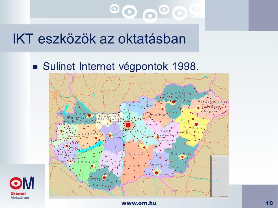 www.om.hu10 IKT eszközök az oktatásban n Sulinet Internet végpontok 1998.