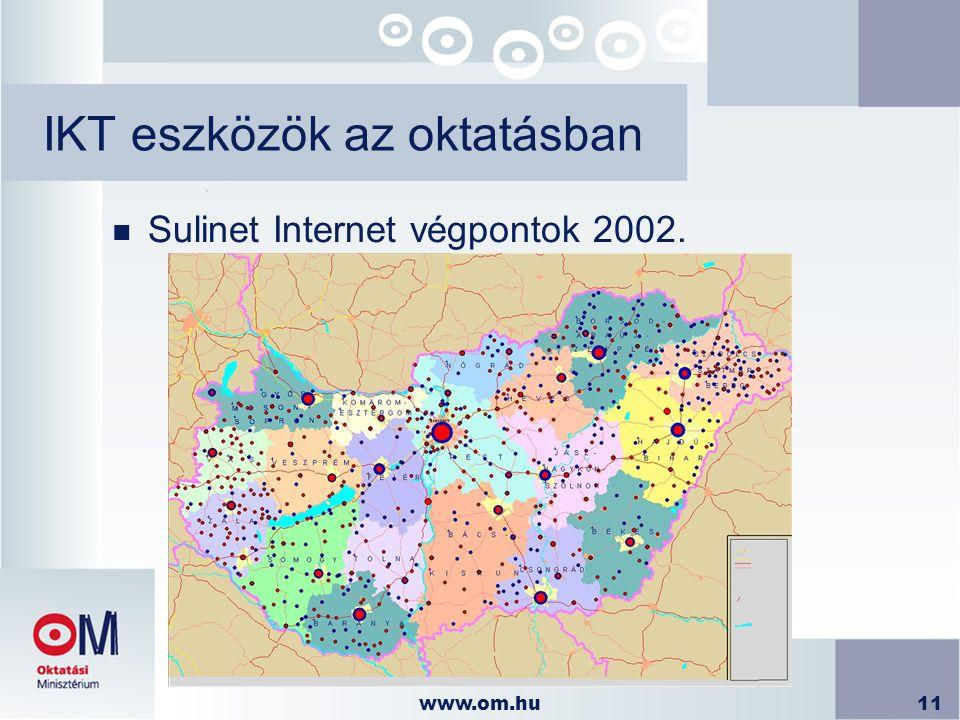 www.om.hu11 IKT eszközök az oktatásban n Sulinet Internet végpontok 2002.
