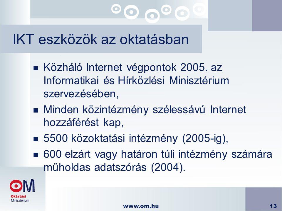 www.om.hu13 IKT eszközök az oktatásban n Közháló Internet végpontok 2005. az Informatikai és Hírközlési Minisztérium szervezésében, n Minden közintézm