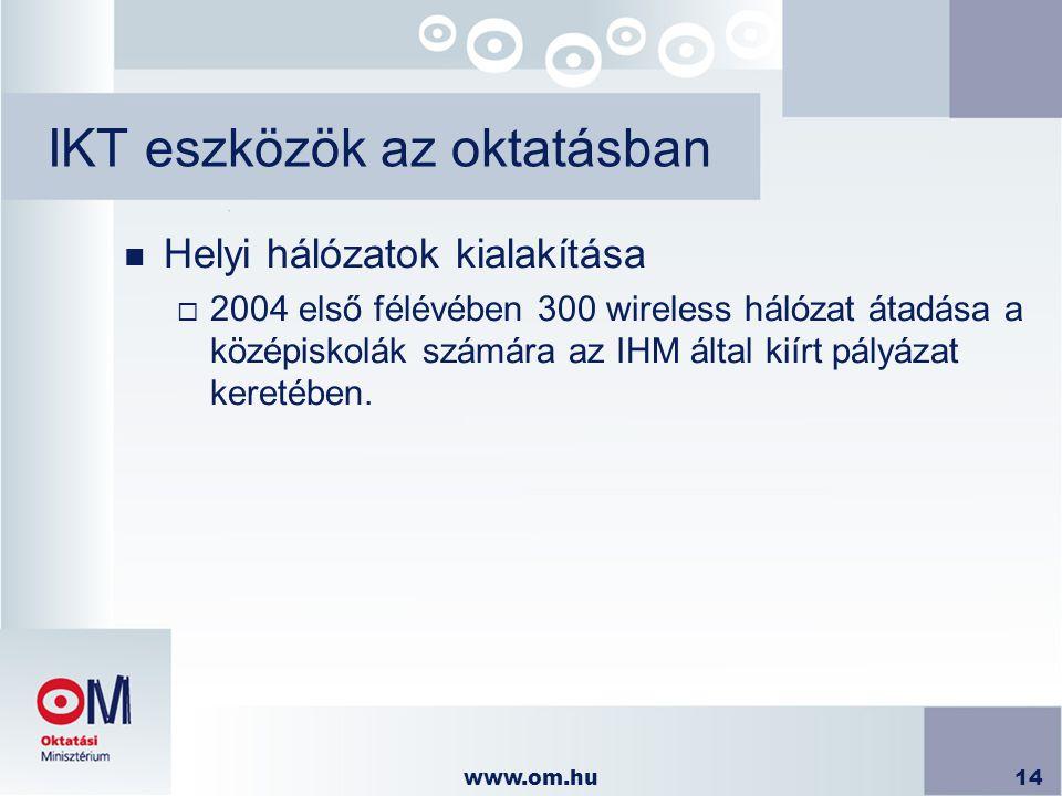 www.om.hu14 IKT eszközök az oktatásban n Helyi hálózatok kialakítása  2004 első félévében 300 wireless hálózat átadása a középiskolák számára az IHM