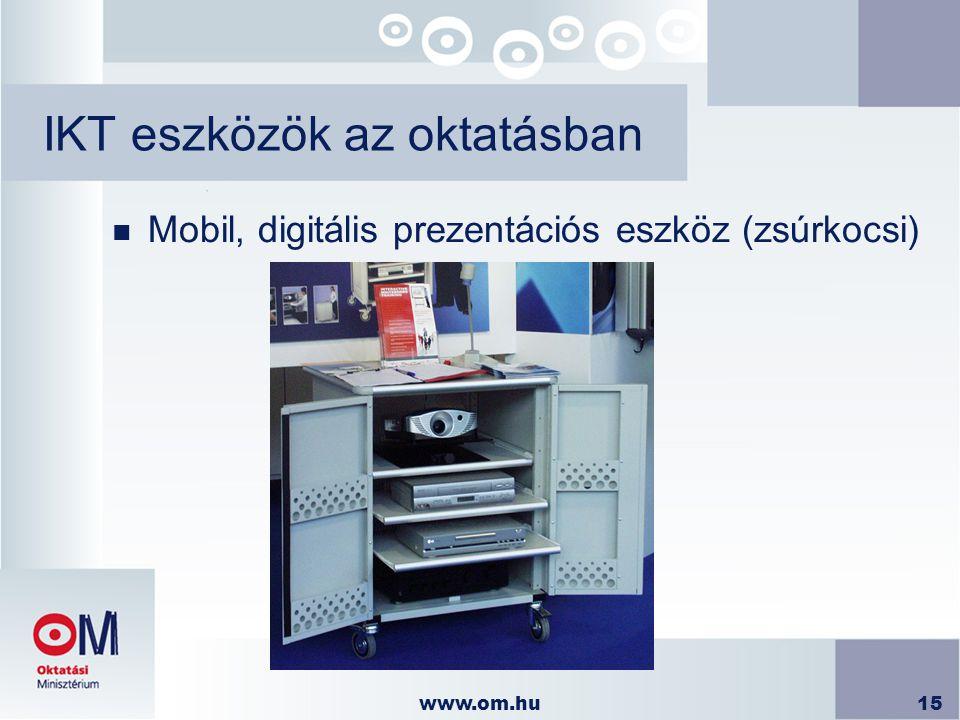 www.om.hu15 IKT eszközök az oktatásban n Mobil, digitális prezentációs eszköz (zsúrkocsi)