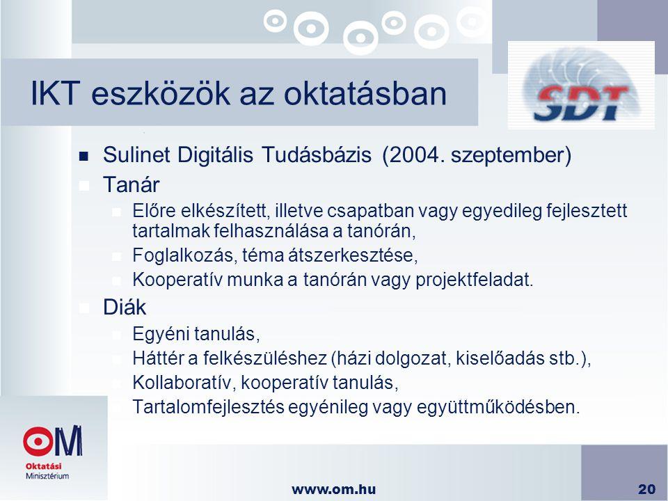 www.om.hu20 IKT eszközök az oktatásban n Sulinet Digitális Tudásbázis (2004. szeptember) n Tanár n Előre elkészített, illetve csapatban vagy egyedileg