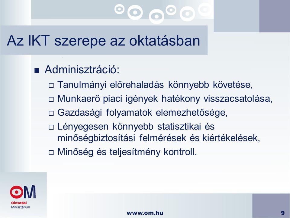 www.om.hu9 Az IKT szerepe az oktatásban n Adminisztráció:  Tanulmányi előrehaladás könnyebb követése,  Munkaerő piaci igények hatékony visszacsatolá