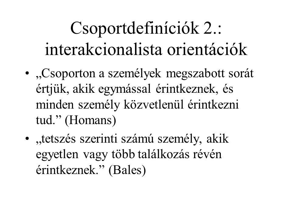 Csoportdefiníciók 1.•Létezik-e minimál-definíció.