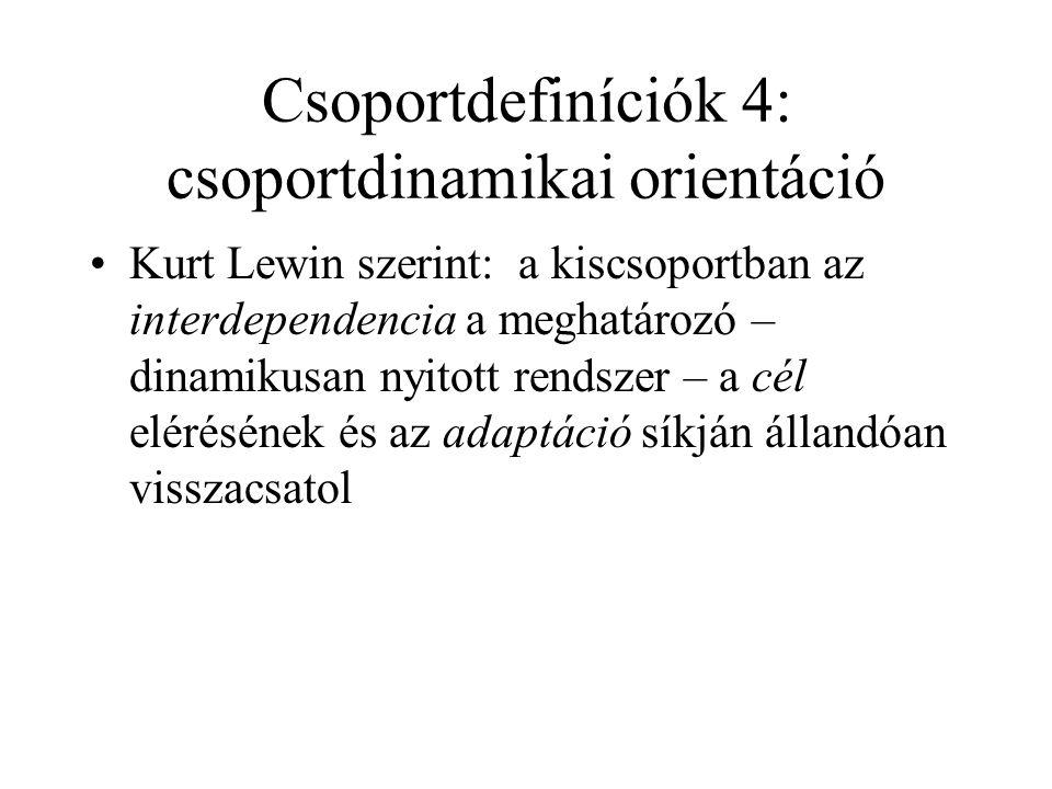 """Csoportdefiníciók 3: strukturalista orientáció •""""A csoport az egyének olyan együttese, amely elkülönült entitásnak minősíthető. (Newcomb)"""