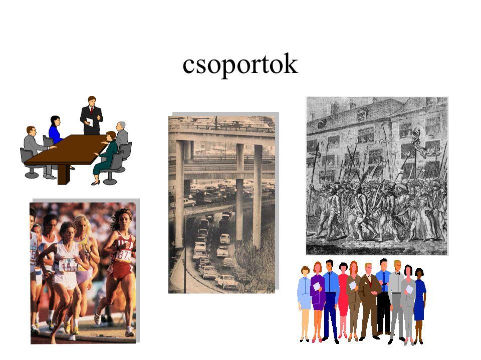 Az előadás további főbb témái •(kis)csoport: a társadalom modellje.