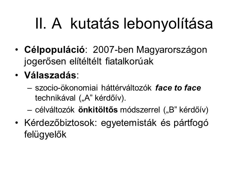 II. A kutatás lebonyolítása •Célpopuláció: 2007-ben Magyarországon jogerősen elítéltélt fiatalkorúak •Válaszadás: –szocio-ökonomiai háttérváltozók fac