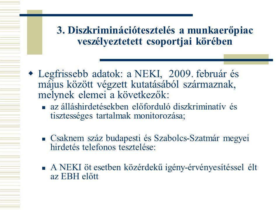 3. Diszkriminációtesztelés a munkaerőpiac veszélyeztetett csoportjai körében  Legfrissebb adatok: a NEKI, 2009. február és május között végzett kutat