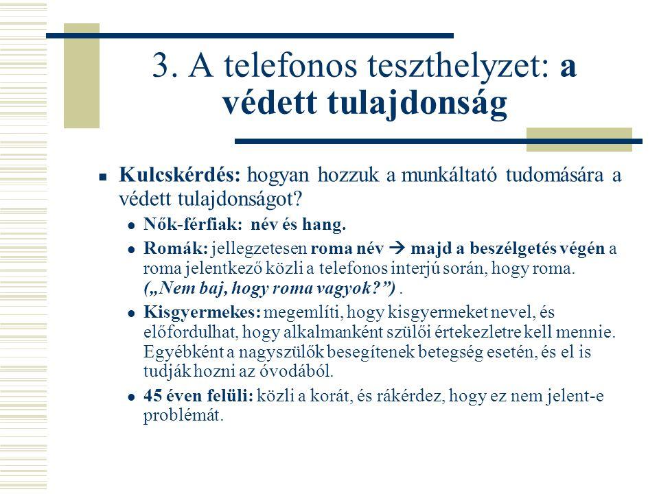 3. A telefonos teszthelyzet: a védett tulajdonság  Kulcskérdés: hogyan hozzuk a munkáltató tudomására a védett tulajdonságot?  Nők-férfiak: név és h