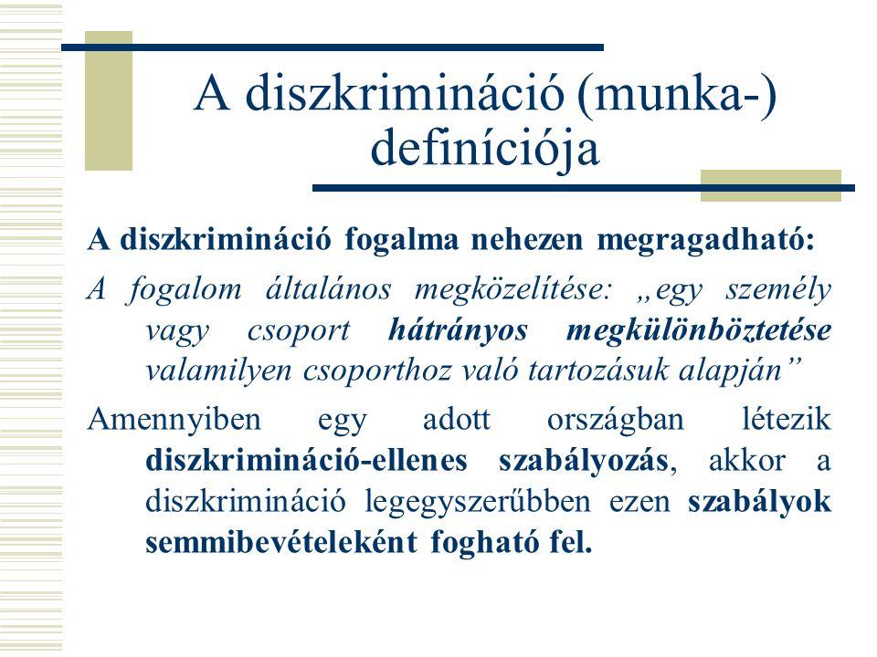 """A diszkrimináció (munka-) definíciója A diszkrimináció fogalma nehezen megragadható: A fogalom általános megközelítése: """"egy személy vagy csoport hátr"""