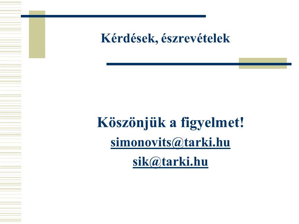 Kérdések, észrevételek Köszönjük a figyelmet! simonovits@tarki.hu sik@tarki.hu