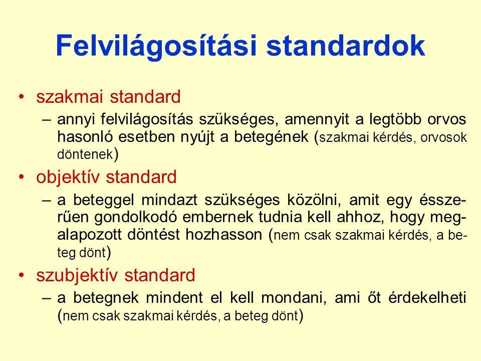 Felvilágosítási standardok •szakmai standard –annyi felvilágosítás szükséges, amennyit a legtöbb orvos hasonló esetben nyújt a betegének ( szakmai kér