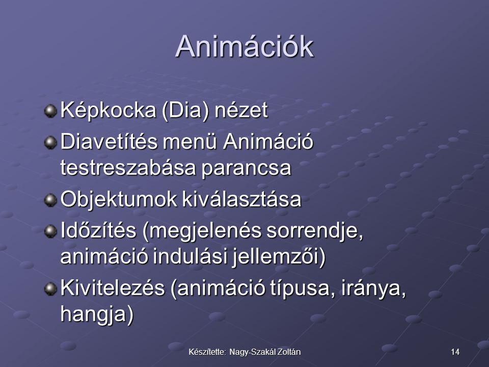 14Készítette: Nagy-Szakál Zoltán Animációk Képkocka (Dia) nézet Diavetítés menü Animáció testreszabása parancsa Objektumok kiválasztása Időzítés (megj