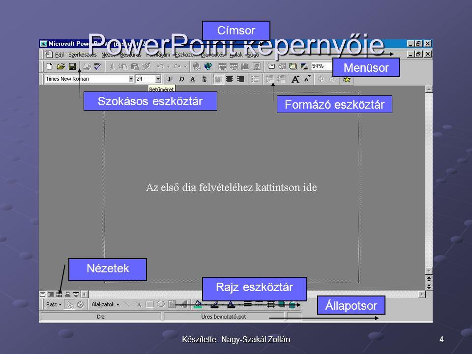 5Készítette: Nagy-Szakál Zoltán Diatípusok Üres bemutató készítése esetén előre elkészített diatípusok közül választhatunk, ezek tájékoztató szövegeket tartalmaznak.