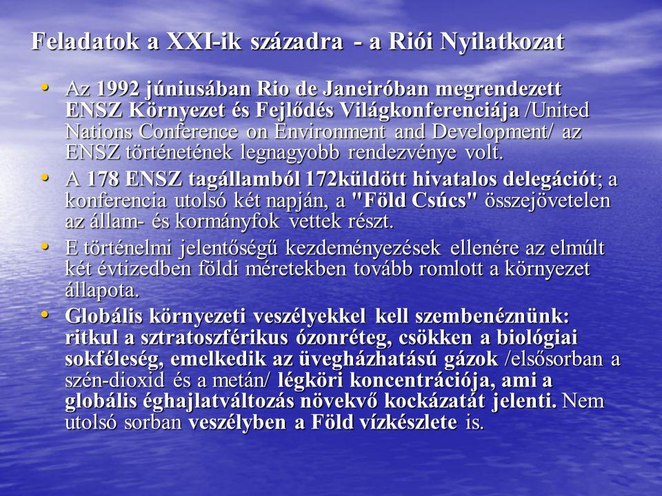 Feladatok a XXI-ik századra - a Riói Nyilatkozat • Az 1992 júniusában Rio de Janeiróban megrendezett ENSZ Környezet és Fejlődés Világkonferenciája /Un