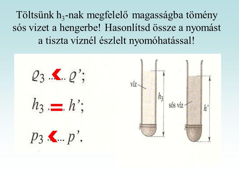 Töltsünk h 3 -nak megfelelő magasságba tömény sós vizet a hengerbe! Hasonlítsd össze a nyomást a tiszta víznél észlelt nyomóhatással!