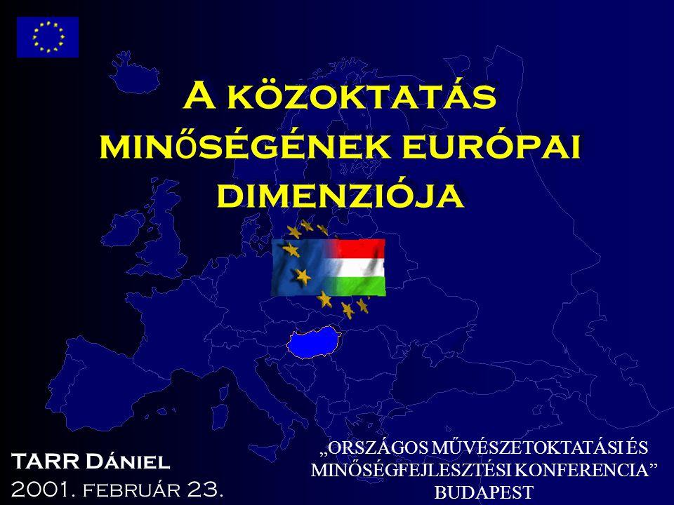 """A közoktatás min ő ségének európai dimenziója """"ORSZÁGOS MŰVÉSZETOKTATÁSI ÉS MINŐSÉGFEJLESZTÉSI KONFERENCIA"""" BUDAPEST 2001. február 23. TARR Dániel"""