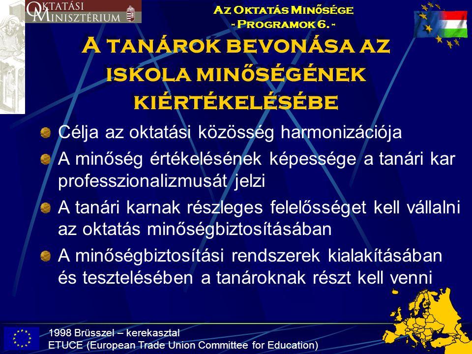 A tanárok bevonása az iskola min ő ségének kiértékelésébe Célja az oktatási közösség harmonizációja A minőség értékelésének képessége a tanári kar pro