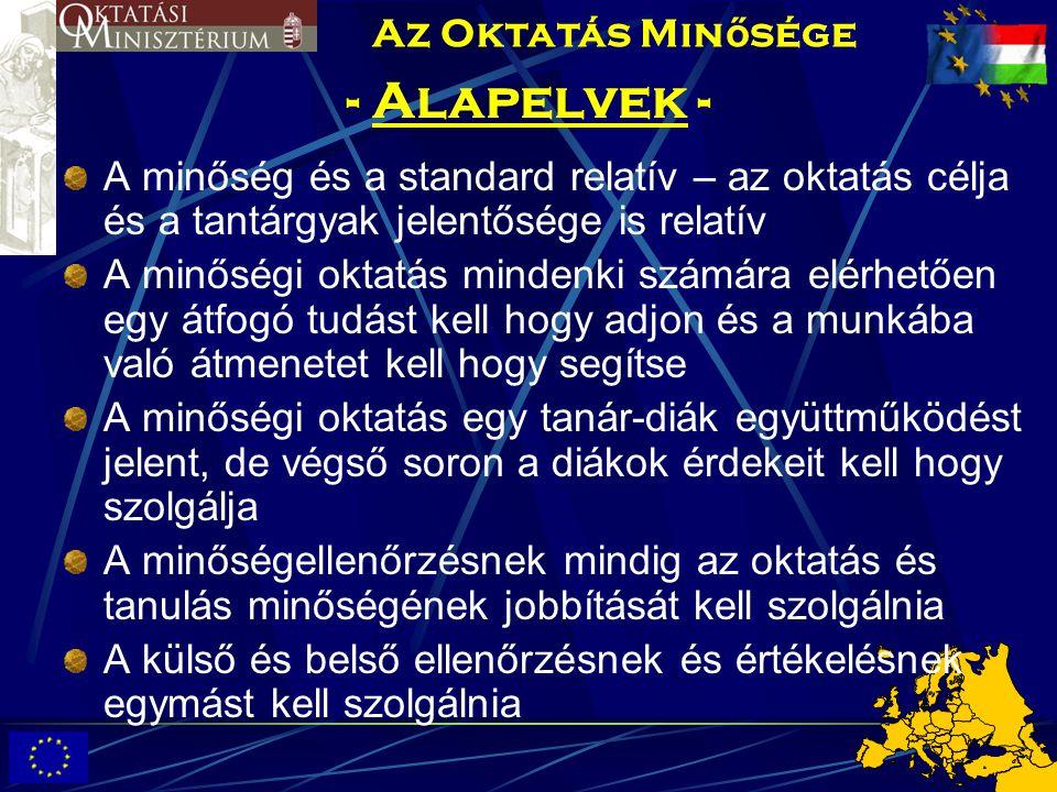 - Alapelvek - A minőség és a standard relatív – az oktatás célja és a tantárgyak jelentősége is relatív A minőségi oktatás mindenki számára elérhetően