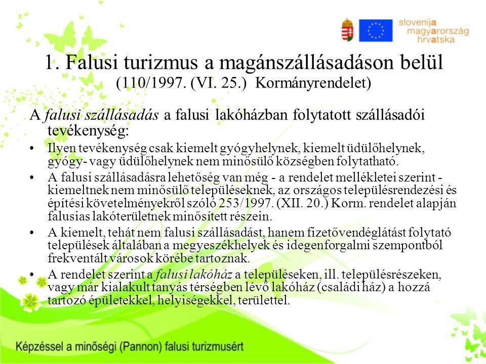 1. Falusi turizmus a magánszállásadáson belül (110/1997. (VI. 25.) Kormányrendelet) A falusi szállásadás a falusi lakóházban folytatott szállásadói te