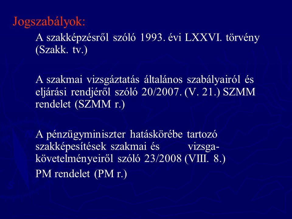 Jogszabályok: A szakképzésről szóló 1993. évi LXXVI. törvény (Szakk. tv.) A szakmai vizsgáztatás általános szabályairól és eljárási rendjéről szóló 20