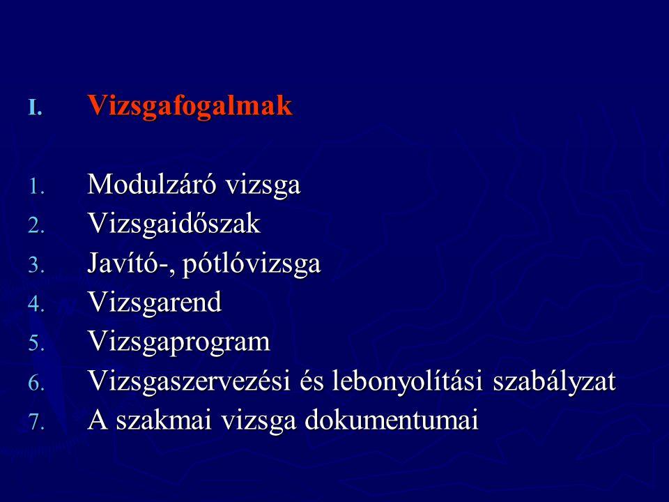 I. Vizsgafogalmak 1. Modulzáró vizsga 2. Vizsgaidőszak 3. Javító-, pótlóvizsga 4. Vizsgarend 5. Vizsgaprogram 6. Vizsgaszervezési és lebonyolítási sza