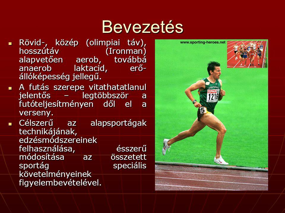 Bevezetés  Rövid-, közép (olimpiai táv), hosszútáv (Ironman) alapvetően aerob, továbbá anaerob laktacid, erő- állóképesség jellegű.