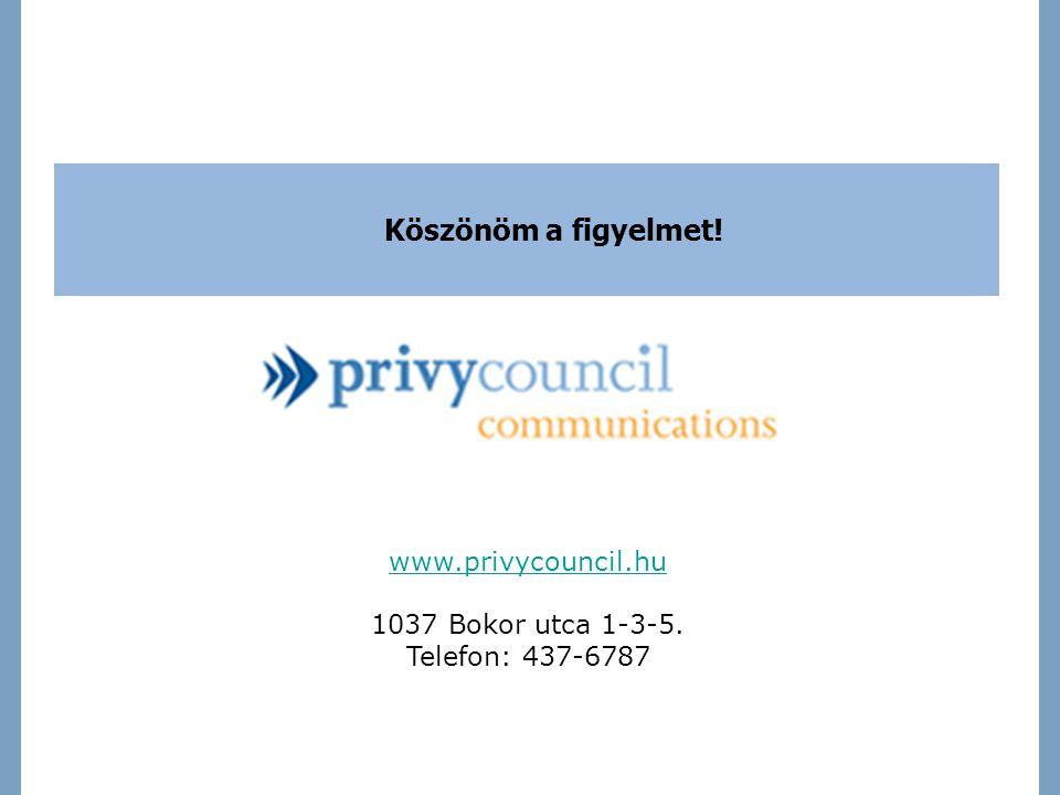 Köszönöm a figyelmet! www.privycouncil.hu 1037 Bokor utca 1-3-5. Telefon: 437-6787