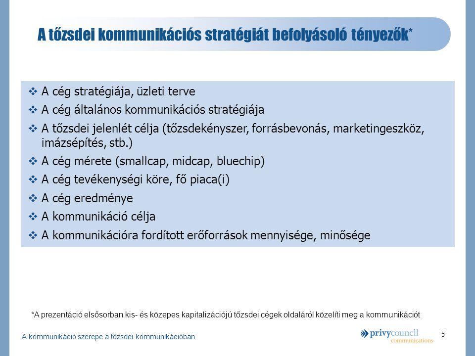 A kommunikáció szerepe a tőzsdei kommunikációban 5 A tőzsdei kommunikációs stratégiát befolyásoló tényezők* *A prezentáció elsősorban kis- és közepes kapitalizációjú tőzsdei cégek oldaláról közelíti meg a kommunikációt  A cég stratégiája, üzleti terve  A cég általános kommunikációs stratégiája  A tőzsdei jelenlét célja (tőzsdekényszer, forrásbevonás, marketingeszköz, imázsépítés, stb.)  A cég mérete (smallcap, midcap, bluechip)  A cég tevékenységi köre, fő piaca(i)  A cég eredménye  A kommunikáció célja  A kommunikációra fordított erőforrások mennyisége, minősége