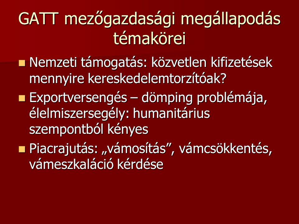 GATT mezőgazdasági megállapodás témakörei  Nemzeti támogatás: közvetlen kifizetések mennyire kereskedelemtorzítóak.