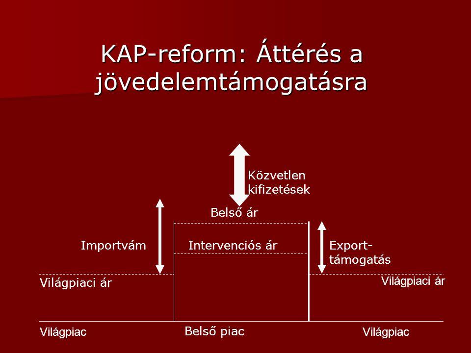 KAP-reform: Áttérés a jövedelemtámogatásra Közvetlen kifizetések Világpiac Belső piac Világpiaci ár Belső ár Intervenciós árImportvámExport- támogatás
