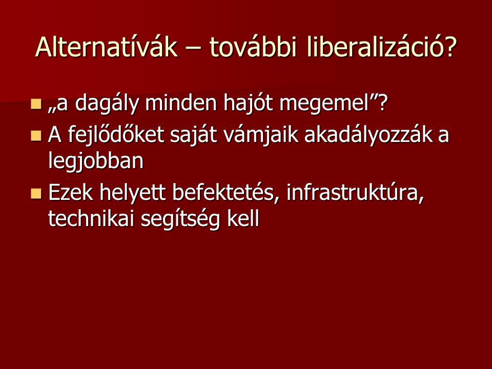 """Alternatívák – további liberalizáció.  """"a dagály minden hajót megemel ."""