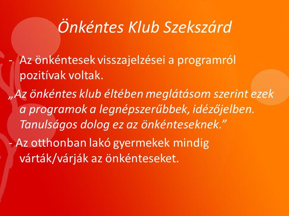 Önkéntes Klub Szekszárd -Az önkéntesek visszajelzései a programról pozitívak voltak.