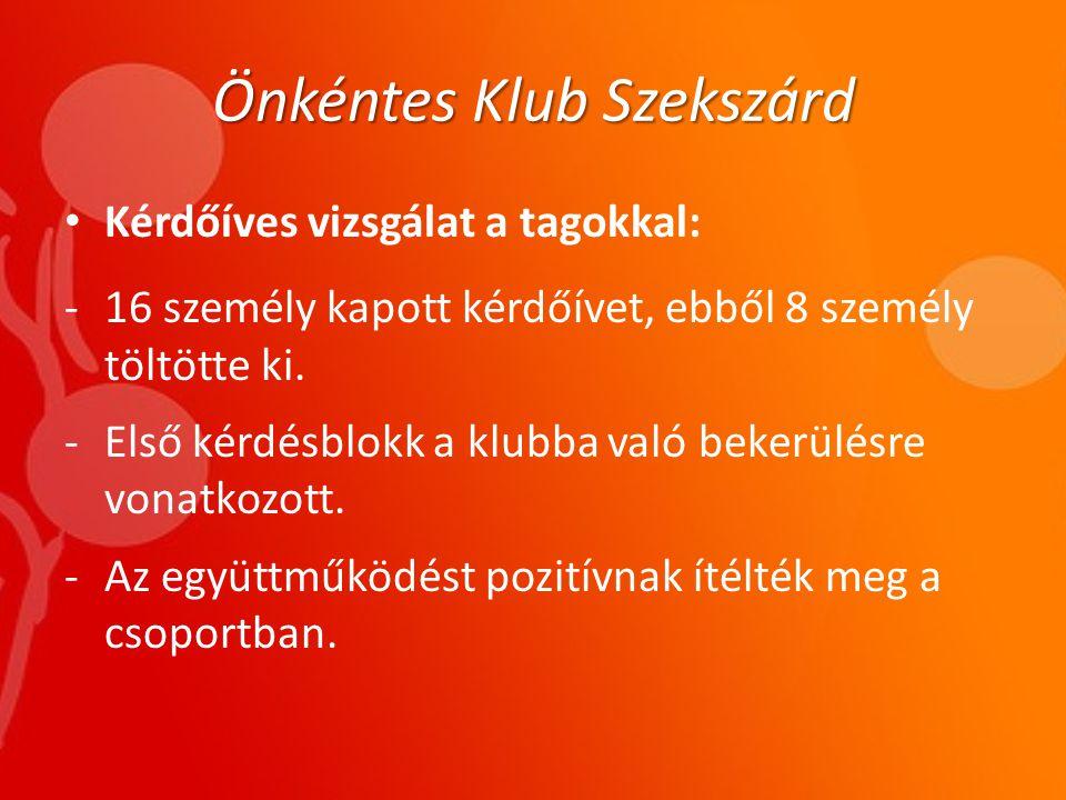 Önkéntes Klub Szekszárd • Kérdőíves vizsgálat a tagokkal: -16 személy kapott kérdőívet, ebből 8 személy töltötte ki.