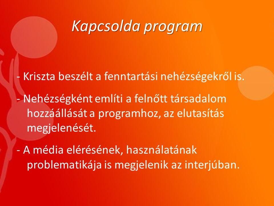 Kapcsolda program - Kriszta beszélt a fenntartási nehézségekről is.
