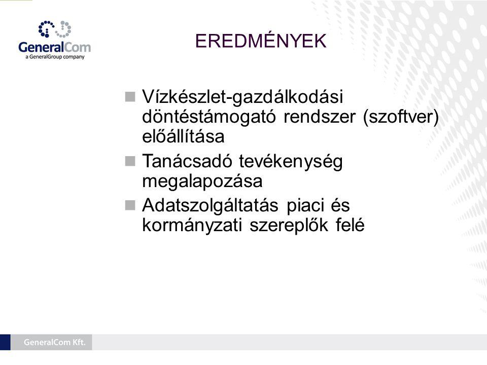EREDMÉNYEK  Vízgazdálkodási döntéstámogató rendszer (szoftver) kialakítása a Tisza vízgyűjtőjén, a kormányzati, önkormányzati, hatósági érintetteknek számára.