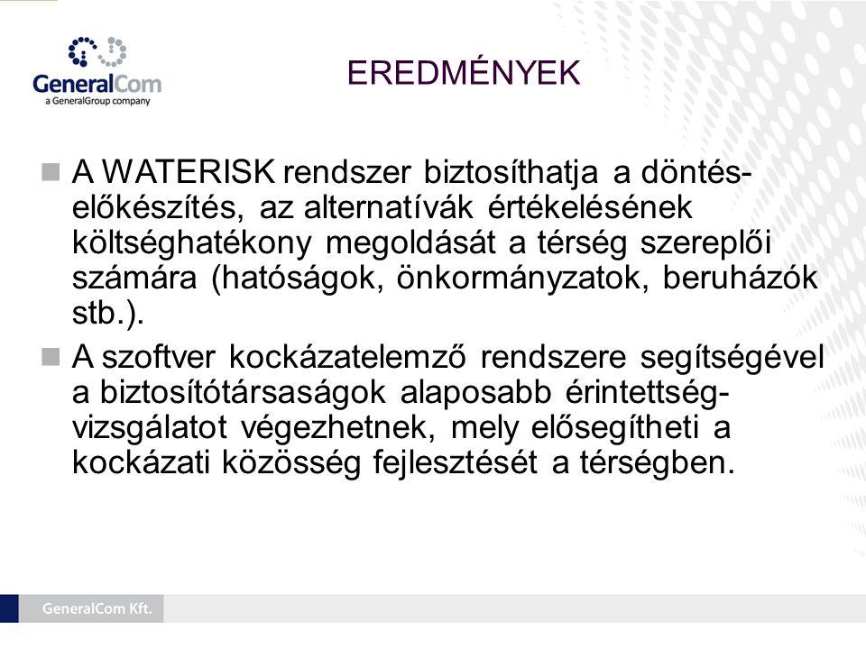 EREDMÉNYEK  A WATERISK rendszer biztosíthatja a döntés- előkészítés, az alternatívák értékelésének költséghatékony megoldását a térség szereplői számára (hatóságok, önkormányzatok, beruházók stb.).