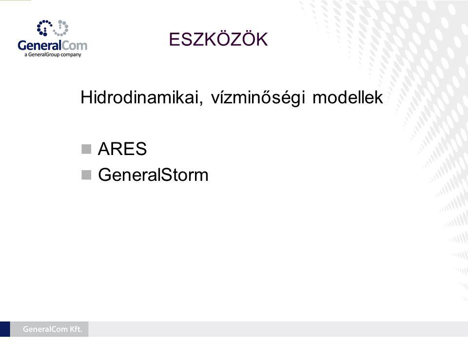 Hidrodinamikai, vízminőségi modellek  ARES  GeneralStorm ESZKÖZÖK