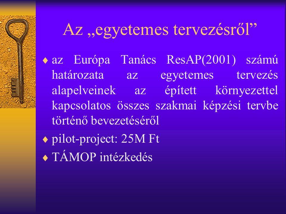 """Az """"egyetemes tervezésről  az Európa Tanács ResAP(2001) számú határozata az egyetemes tervezés alapelveinek az épített környezettel kapcsolatos összes szakmai képzési tervbe történő bevezetéséről  pilot-project: 25M Ft  TÁMOP intézkedés"""