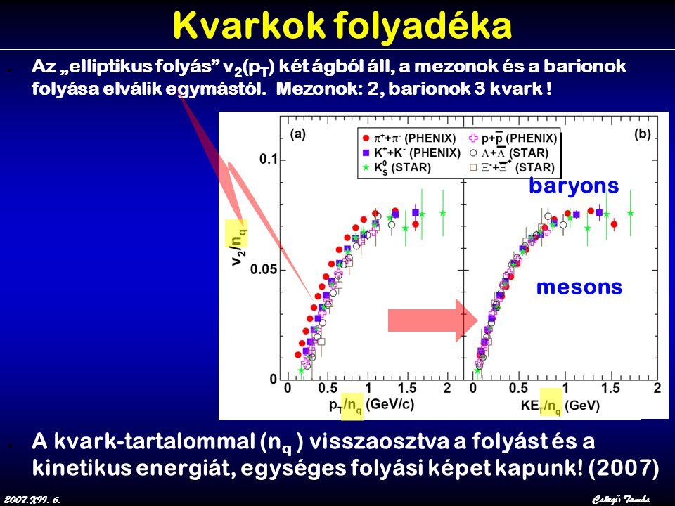 """2007.XII. 6.Csörg ő Tamás Kvarkok folyadéka ● Az """"elliptikus folyás"""" v 2 (p T ) két ágból áll, a mezonok és a barionok folyása elválik egymástól. Mezo"""