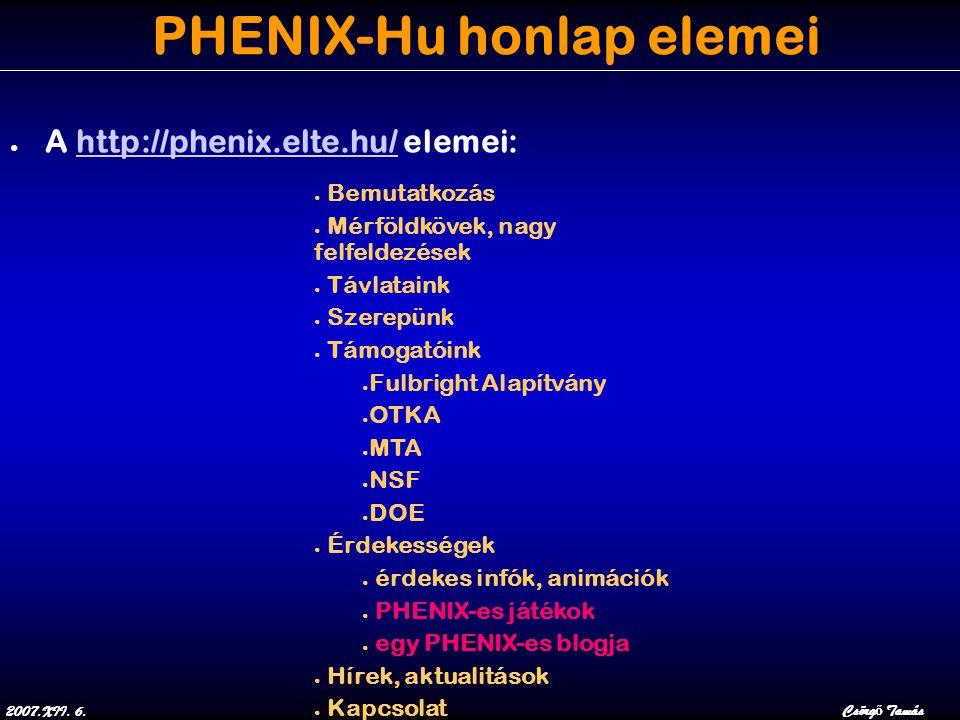 2007.XII. 6.Csörg ő Tamás PHENIX-Hu honlap elemei ● A http://phenix.elte.hu/ elemei:http://phenix.elte.hu/ ● Bemutatkozás ● Mérföldkövek, nagy felfeld