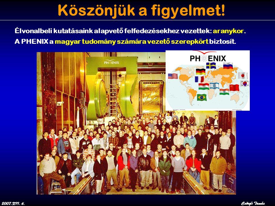 2007.XII. 6.Csörg ő Tamás Köszönjük a figyelmet! Élvonalbeli kutatásaink alapvet ő felfedezésekhez vezettek: aranykor. A PHENIX a magyar tudomány szám