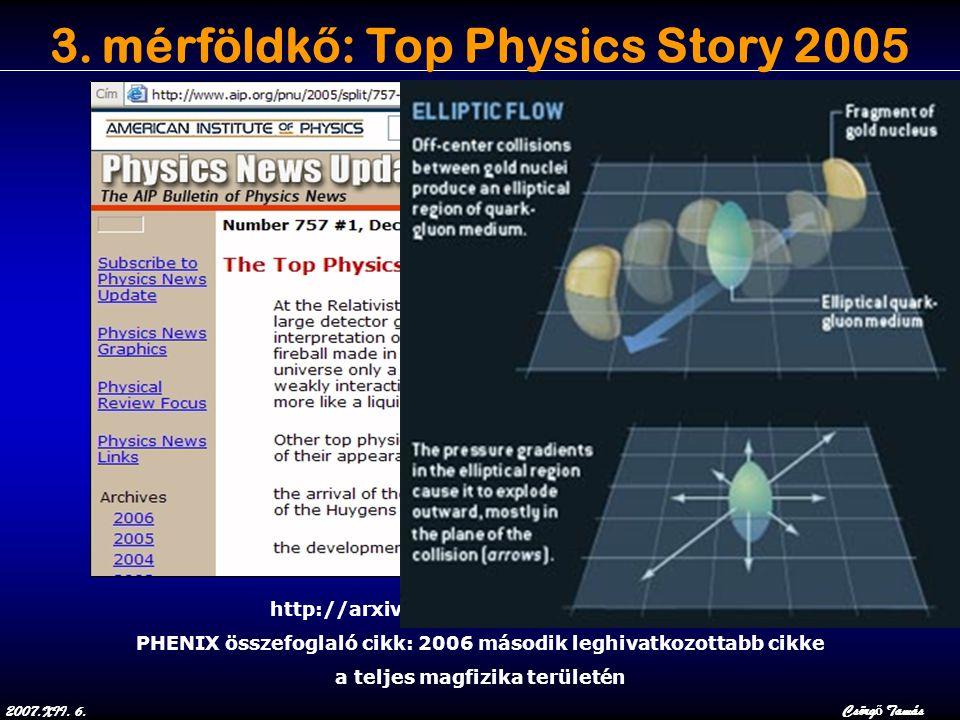 2007.XII. 6.Csörg ő Tamás 3. mérföldk ő : Top Physics Story 2005 http://arxiv.org/abs/nucl-ex/0410003 PHENIX összefoglaló cikk: 2006 második leghivatk
